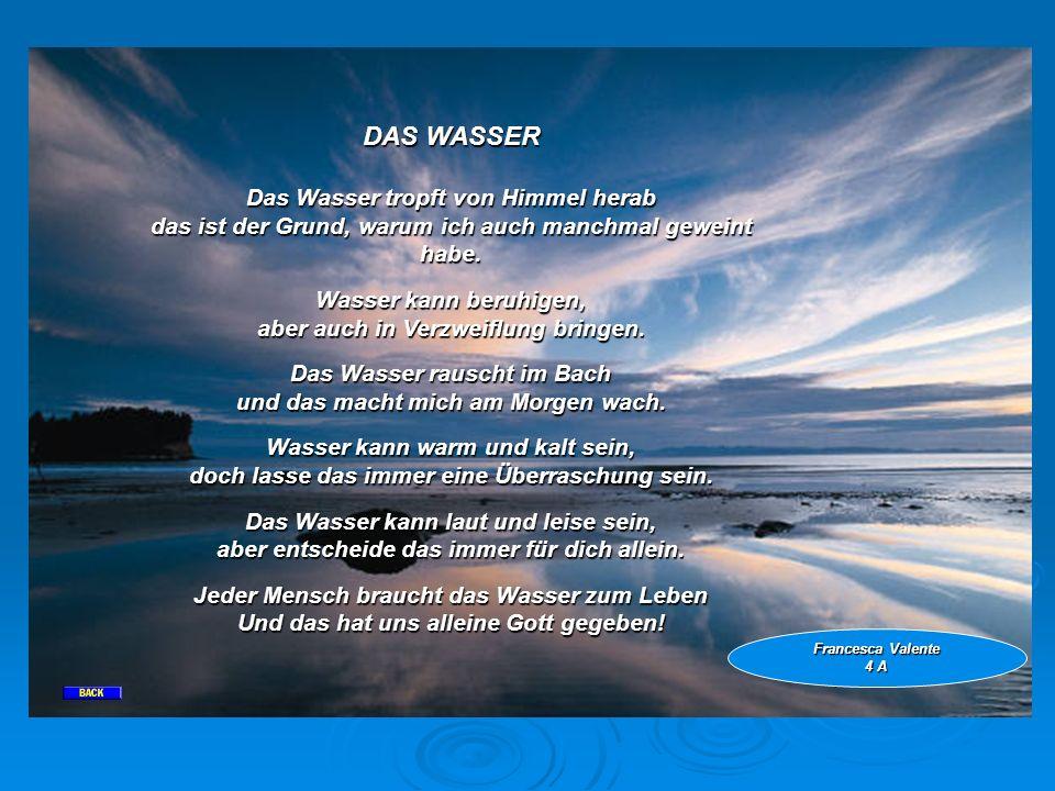 DAS WASSER Das Wasser tropft von Himmel herab