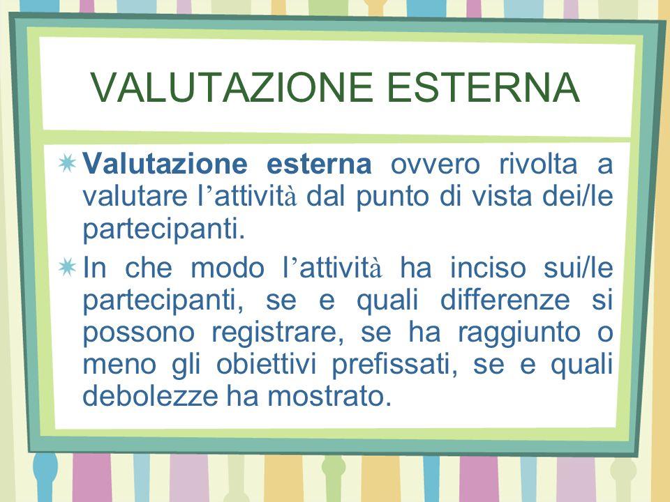 VALUTAZIONE ESTERNA Valutazione esterna ovvero rivolta a valutare l'attività dal punto di vista dei/le partecipanti.