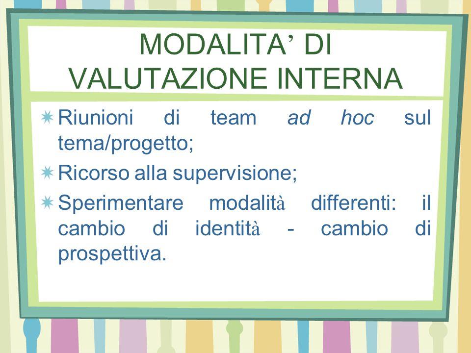 MODALITA' DI VALUTAZIONE INTERNA
