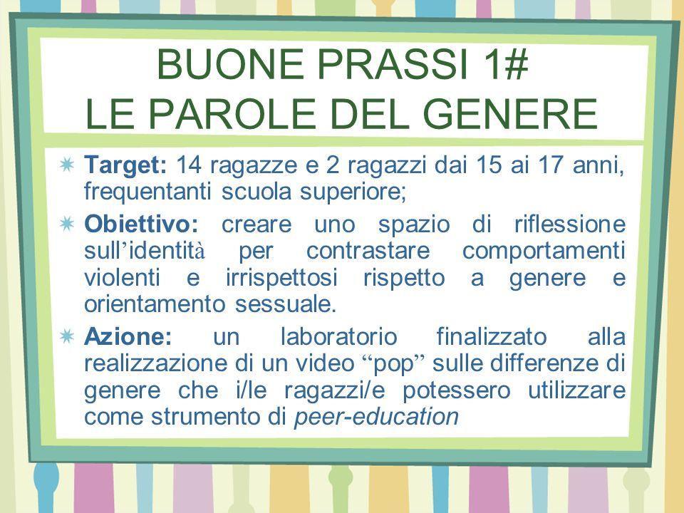 BUONE PRASSI 1# LE PAROLE DEL GENERE