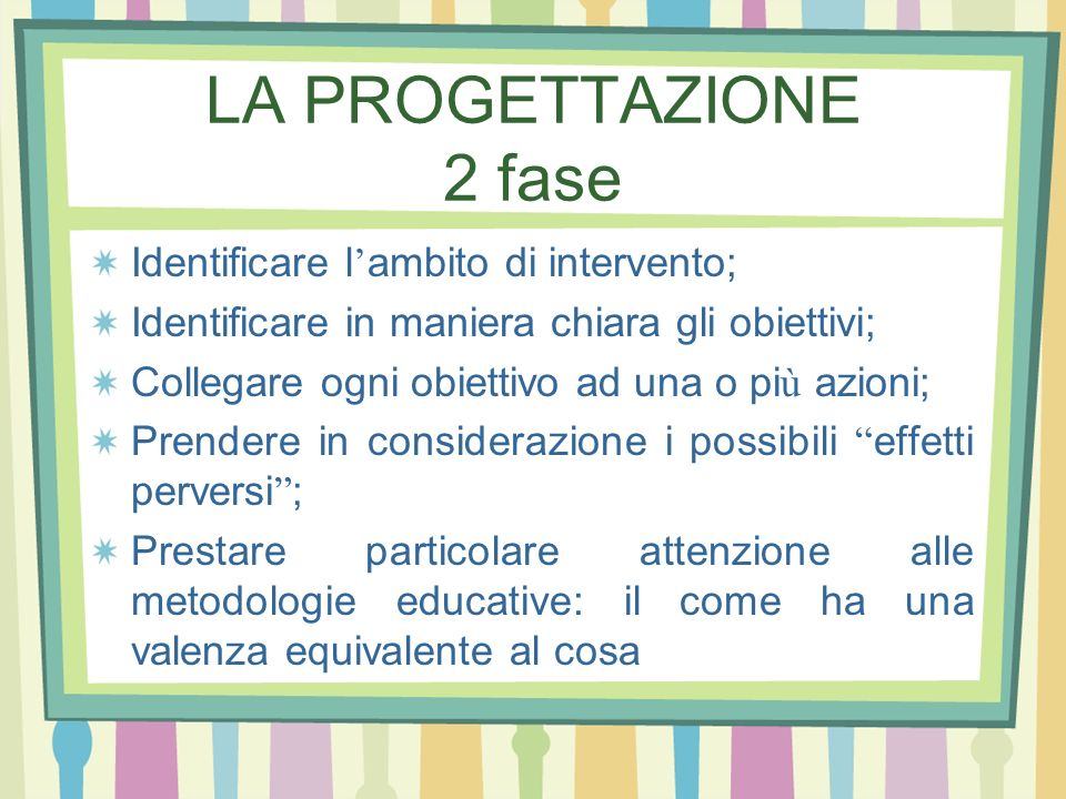 LA PROGETTAZIONE 2 fase Identificare l'ambito di intervento;