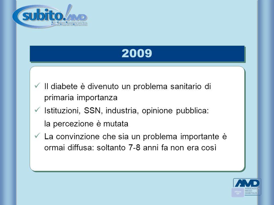 2009 Il diabete è divenuto un problema sanitario di primaria importanza. Istituzioni, SSN, industria, opinione pubblica: