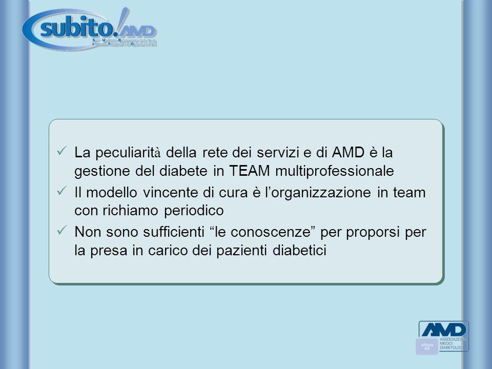 La peculiarità della rete dei servizi e di AMD è la gestione del diabete in TEAM multiprofessionale