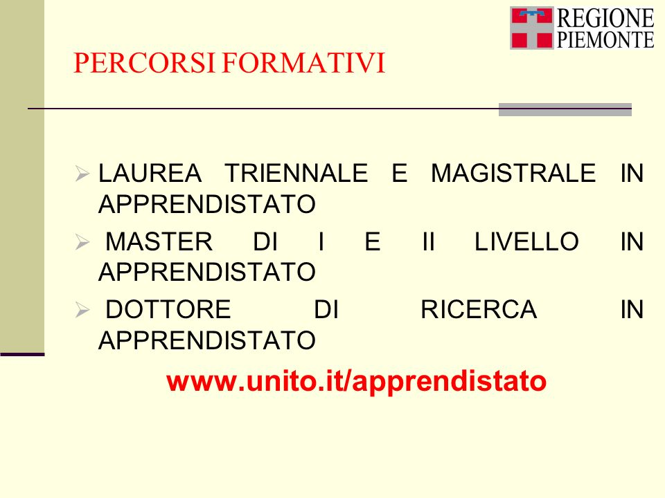 PERCORSI FORMATIVI LAUREA TRIENNALE E MAGISTRALE IN APPRENDISTATO