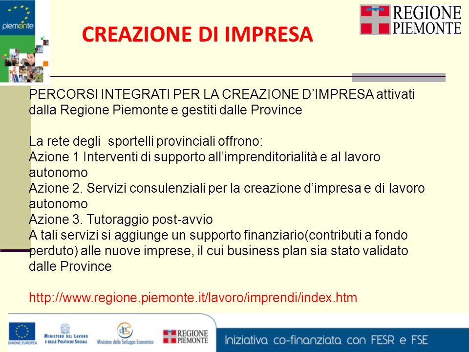 CREAZIONE DI IMPRESA PERCORSI INTEGRATI PER LA CREAZIONE D'IMPRESA attivati dalla Regione Piemonte e gestiti dalle Province.