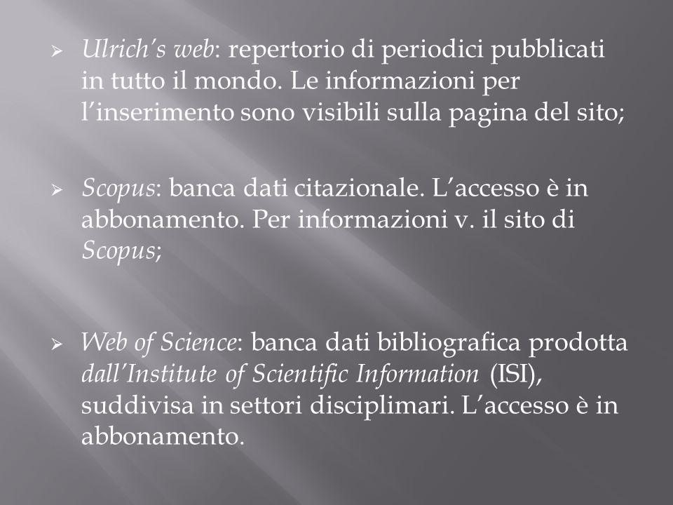 Ulrich's web: repertorio di periodici pubblicati in tutto il mondo
