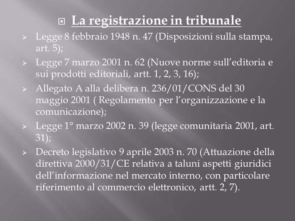 La registrazione in tribunale