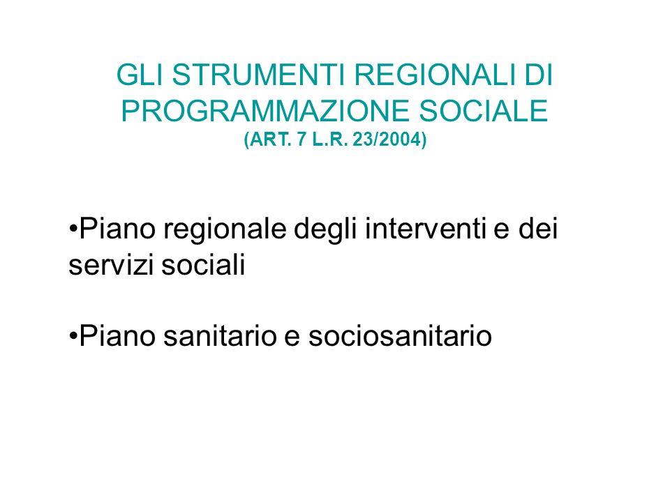 GLI STRUMENTI REGIONALI DI PROGRAMMAZIONE SOCIALE (ART. 7 L. R