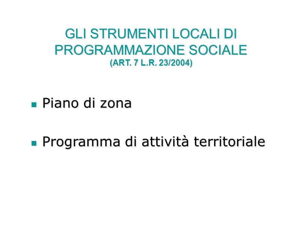 GLI STRUMENTI LOCALI DI PROGRAMMAZIONE SOCIALE (ART. 7 L.R. 23/2004)
