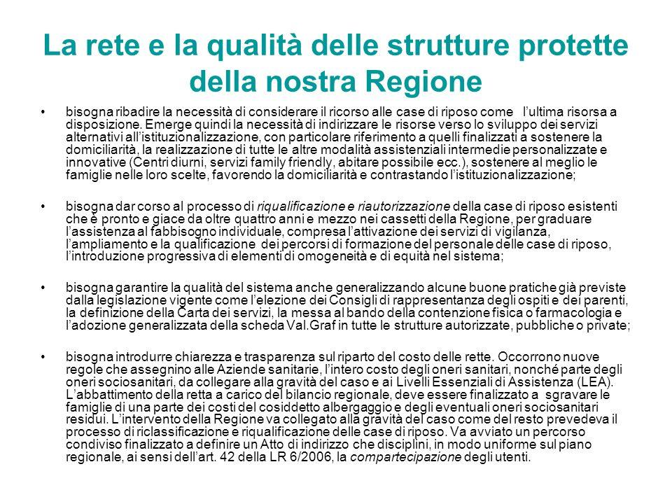 La rete e la qualità delle strutture protette della nostra Regione