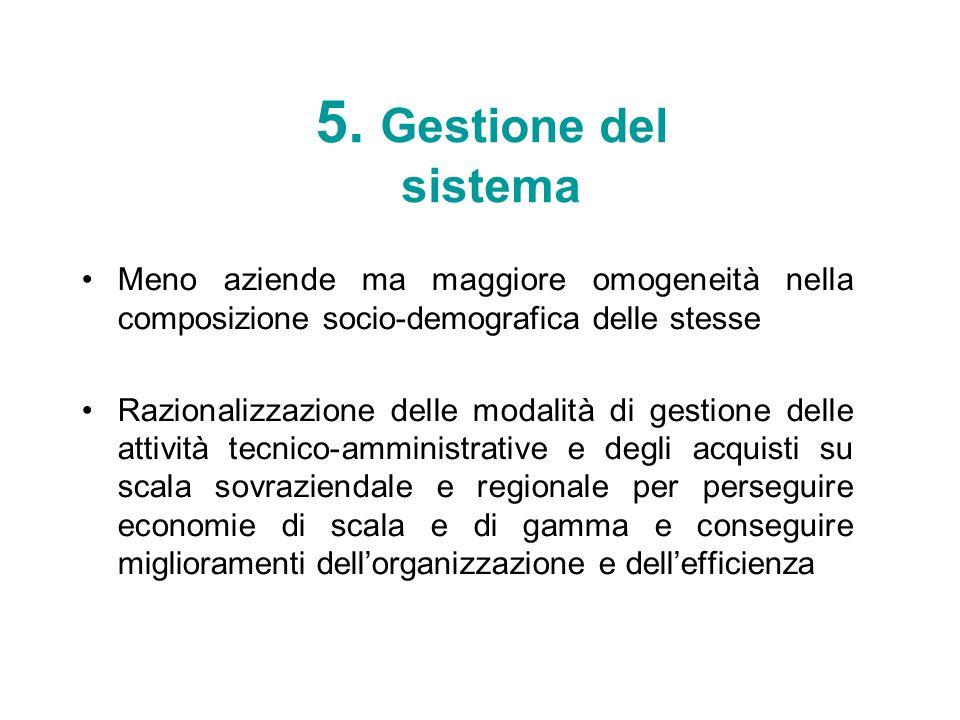 5. Gestione del sistemaMeno aziende ma maggiore omogeneità nella composizione socio-demografica delle stesse.