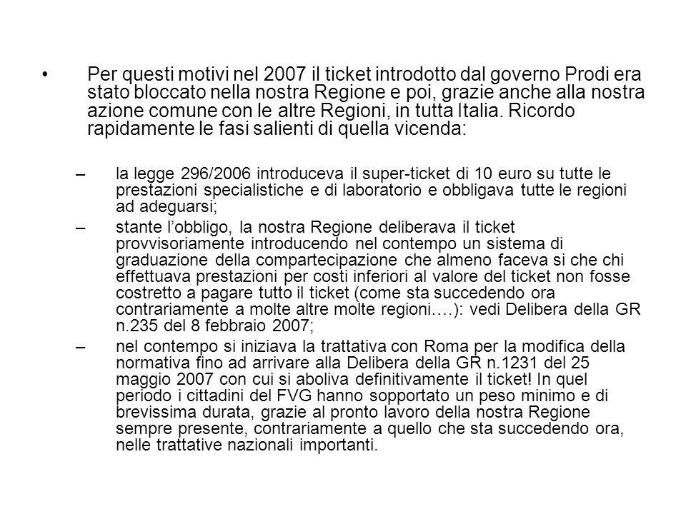 Per questi motivi nel 2007 il ticket introdotto dal governo Prodi era stato bloccato nella nostra Regione e poi, grazie anche alla nostra azione comune con le altre Regioni, in tutta Italia. Ricordo rapidamente le fasi salienti di quella vicenda: