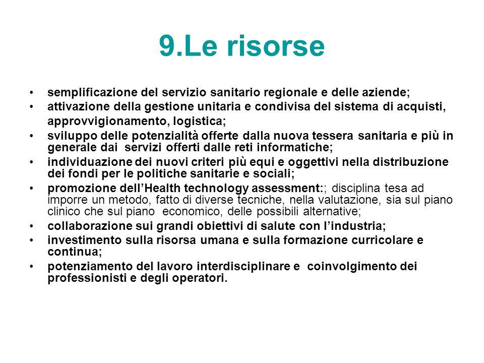 9.Le risorse semplificazione del servizio sanitario regionale e delle aziende;