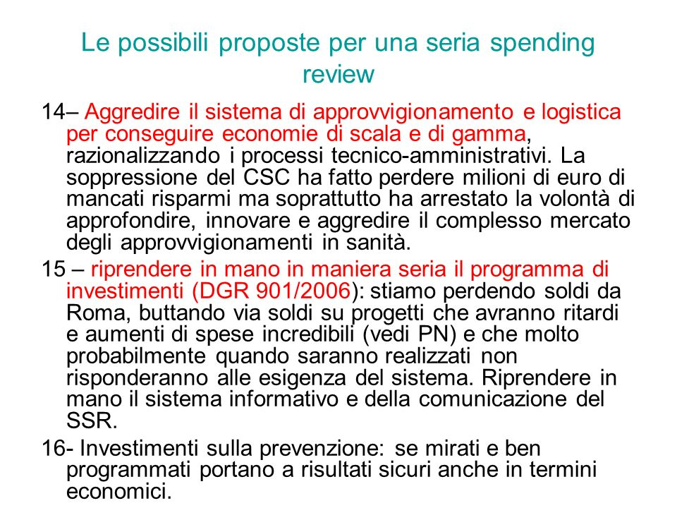 Le possibili proposte per una seria spending review
