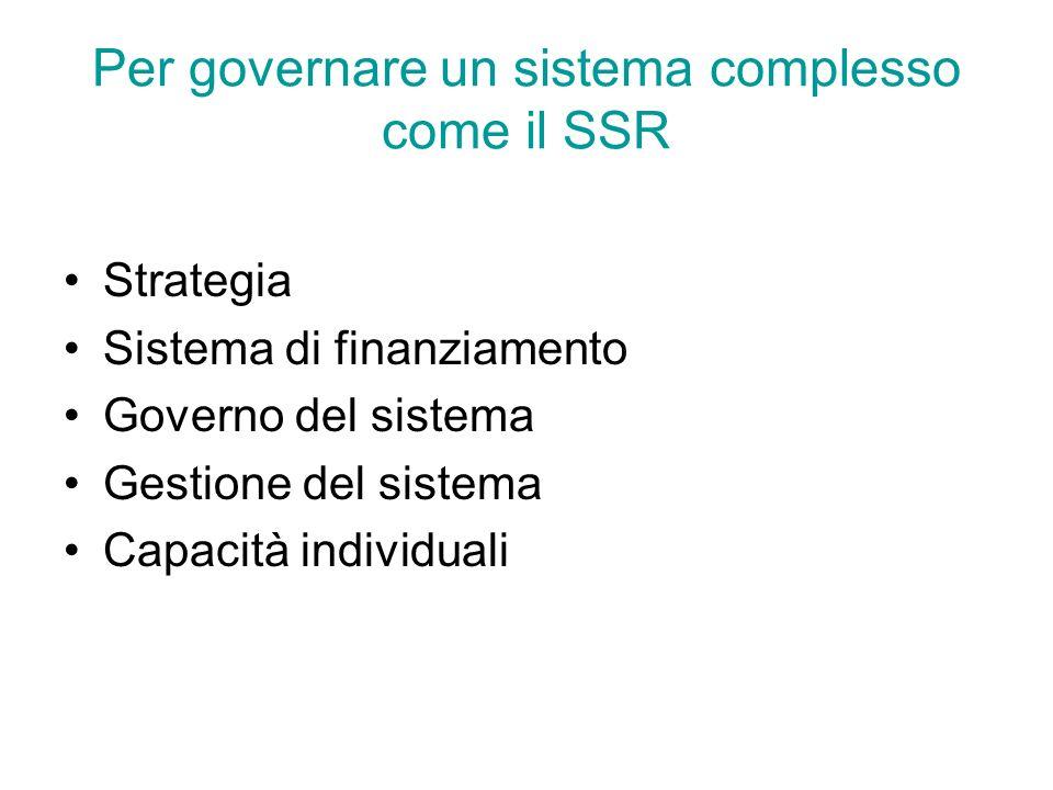 Per governare un sistema complesso come il SSR