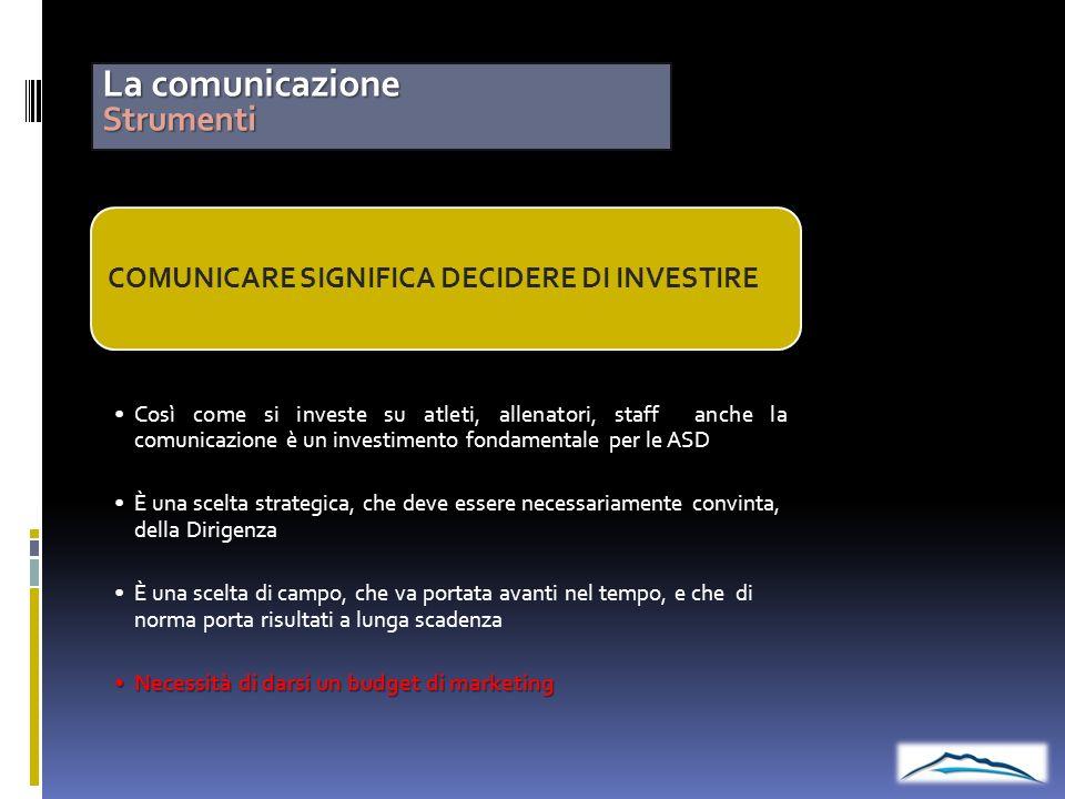 La comunicazione Strumenti COMUNICARE SIGNIFICA DECIDERE DI INVESTIRE