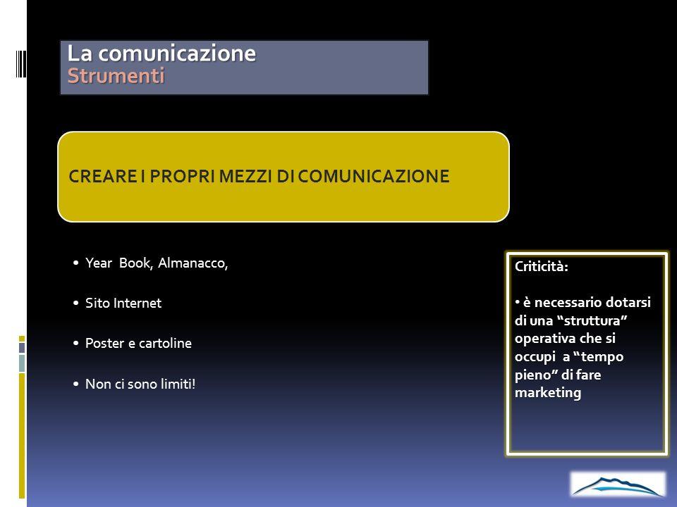 La comunicazione Strumenti CREARE I PROPRI MEZZI DI COMUNICAZIONE