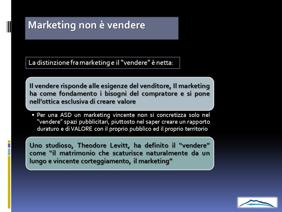 Marketing non è vendere