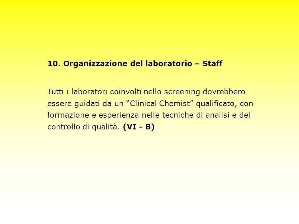 10. Organizzazione del laboratorio – Staff