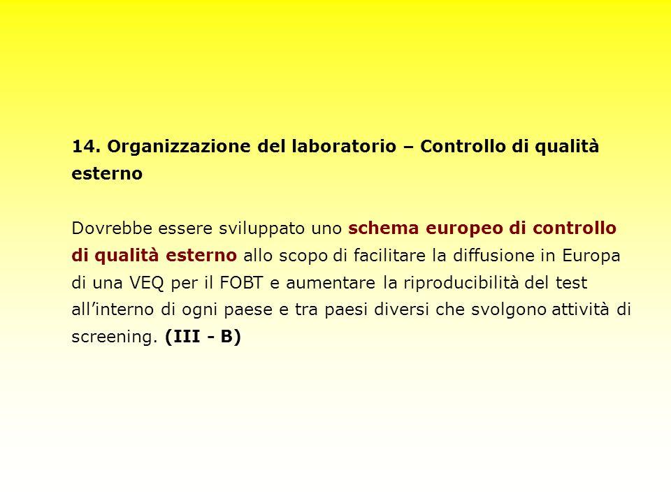 14. Organizzazione del laboratorio – Controllo di qualità esterno