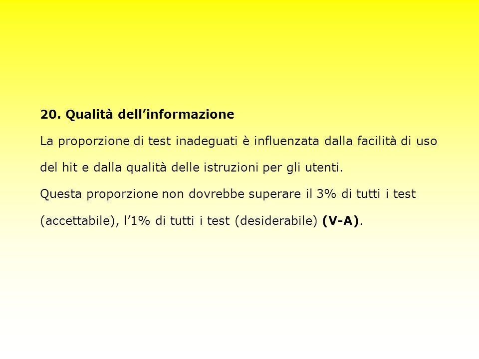 20. Qualità dell'informazione