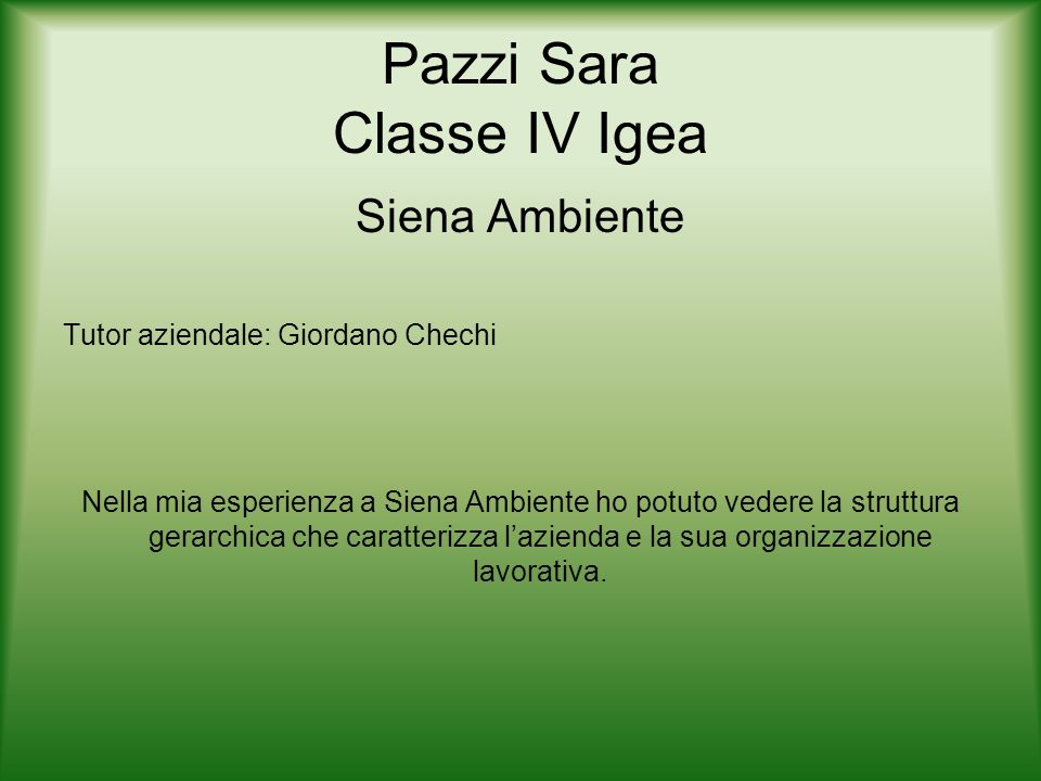 Pazzi Sara Classe IV Igea