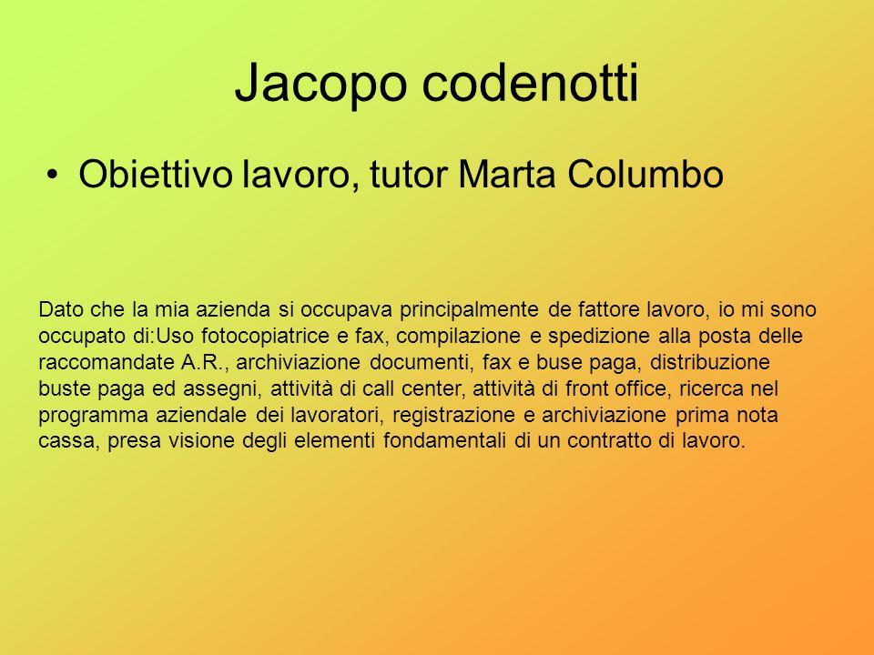 Jacopo codenotti Obiettivo lavoro, tutor Marta Columbo