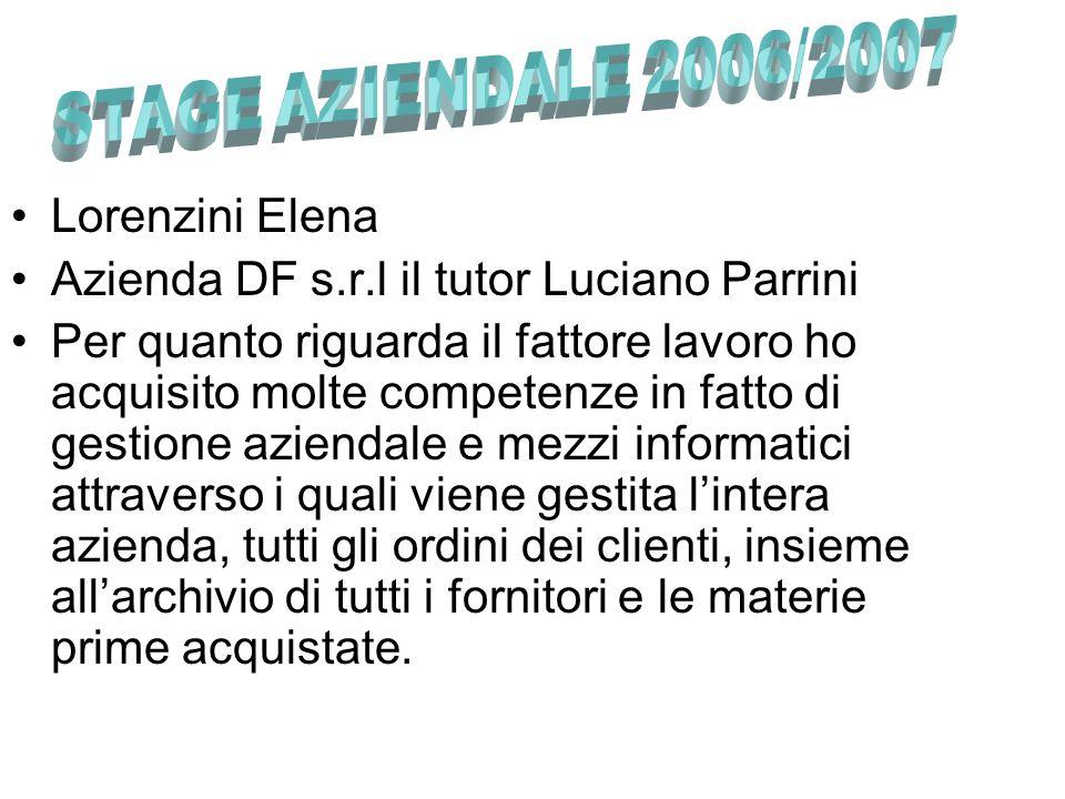 Azienda DF s.r.l il tutor Luciano Parrini