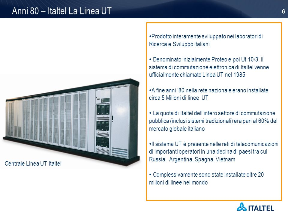 Anni 80 – Italtel La Linea UT