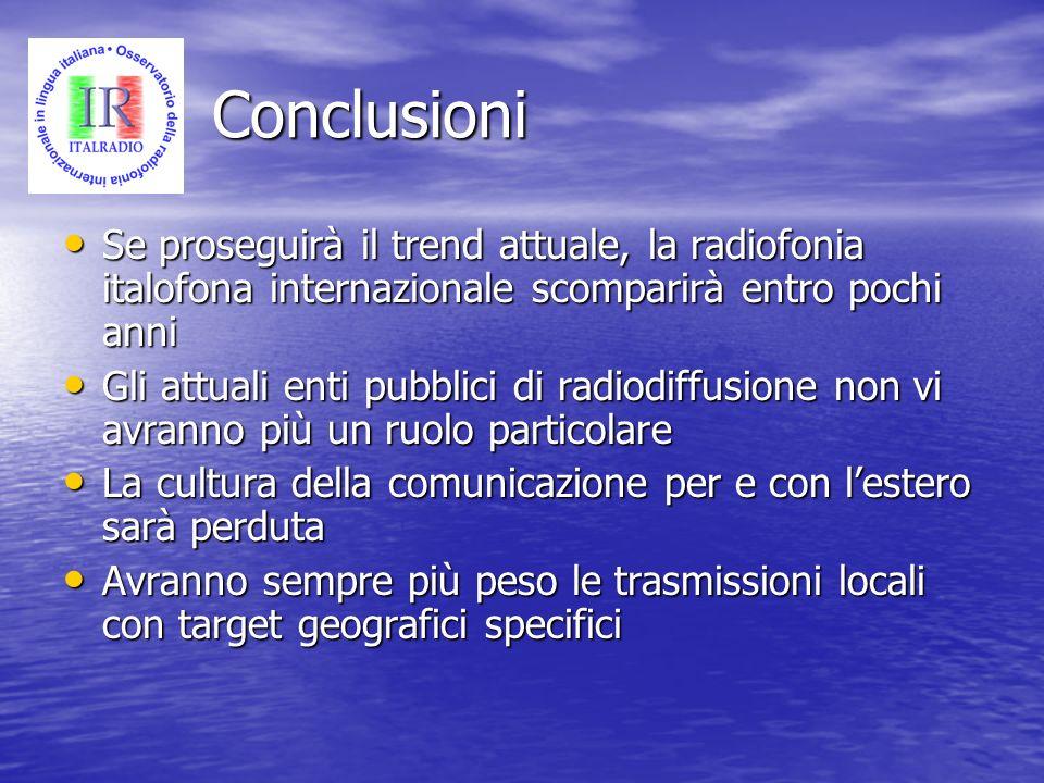 ConclusioniSe proseguirà il trend attuale, la radiofonia italofona internazionale scomparirà entro pochi anni.