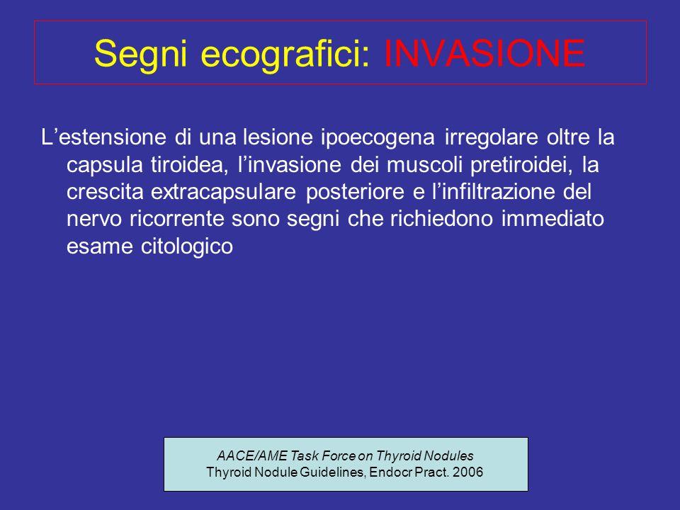 Segni ecografici: INVASIONE
