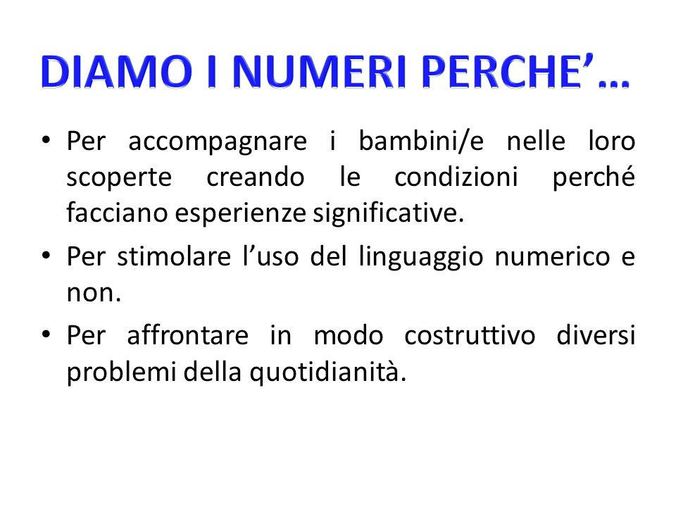 DIAMO I NUMERI PERCHE'…