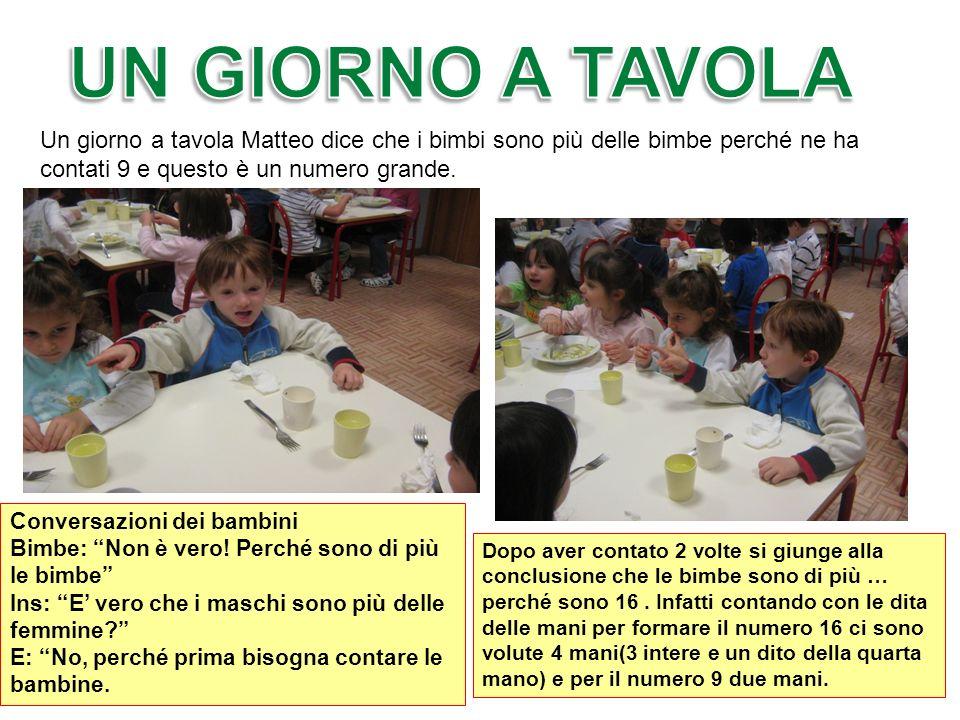 UN GIORNO A TAVOLAUn giorno a tavola Matteo dice che i bimbi sono più delle bimbe perché ne ha contati 9 e questo è un numero grande.