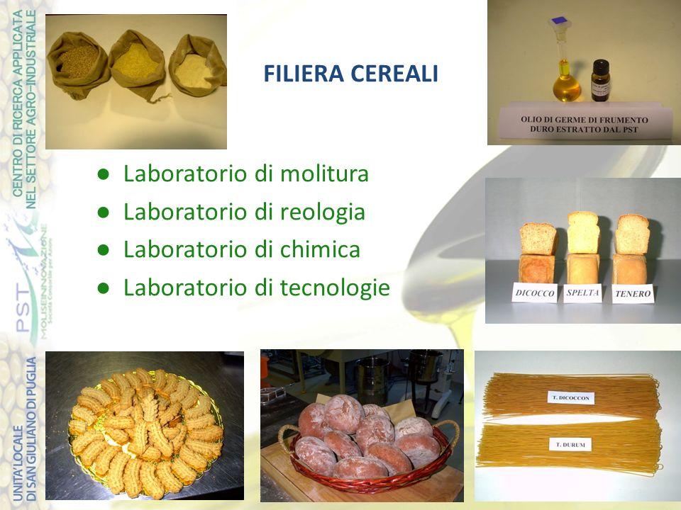 FILIERA CEREALI ● Laboratorio di molitura. ● Laboratorio di reologia. ● Laboratorio di chimica.