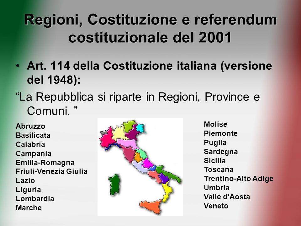 Regioni, Costituzione e referendum costituzionale del 2001