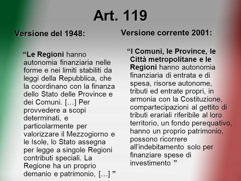Art. 119 Versione corrente 2001: Versione del 1948: