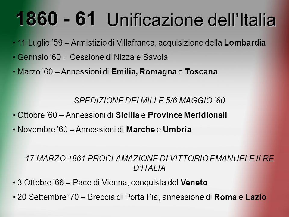 1860 - 61 Unificazione dell'Italia