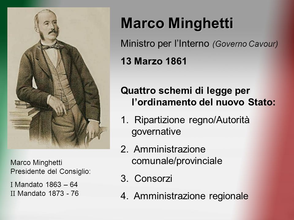 Marco Minghetti Ministro per l'Interno (Governo Cavour) 13 Marzo 1861