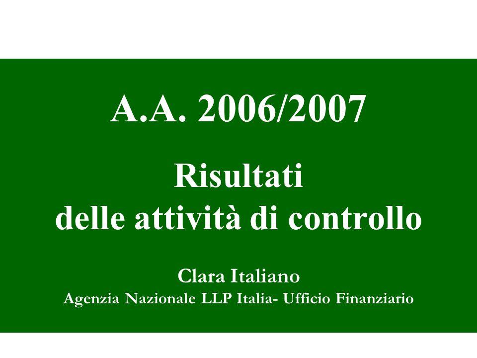 A.A. 2006/2007 Risultati delle attività di controllo Clara Italiano