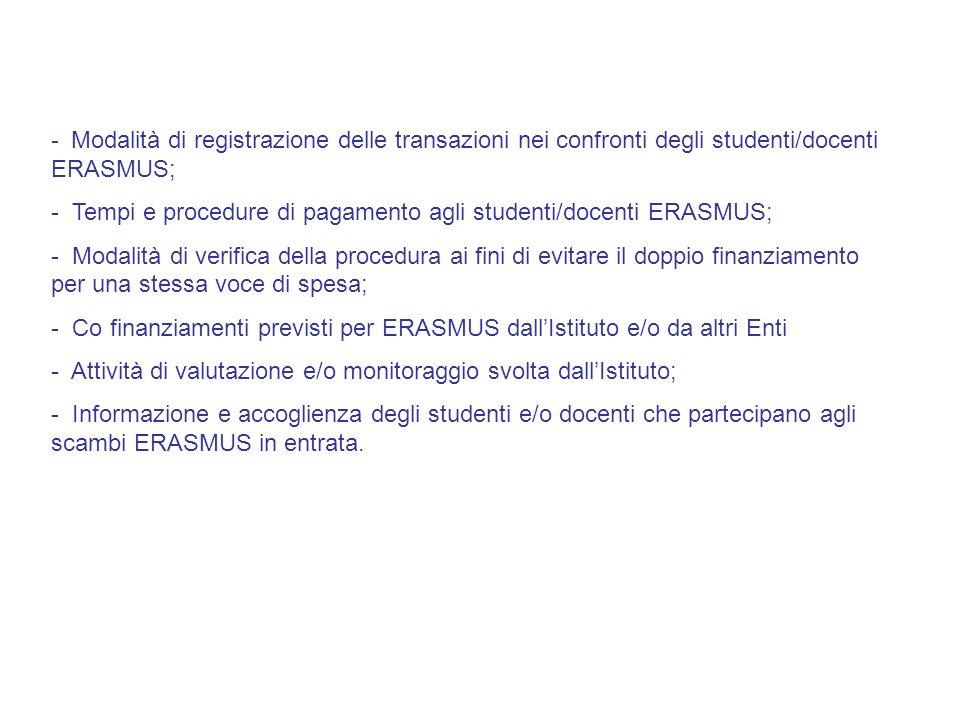 Modalità di registrazione delle transazioni nei confronti degli studenti/docenti ERASMUS;