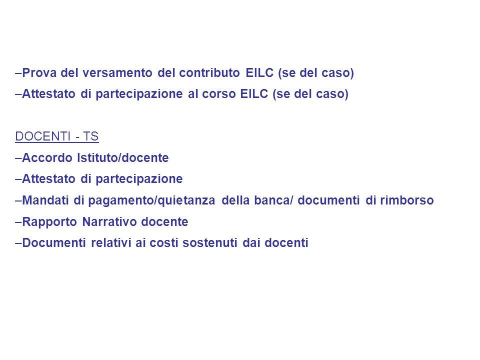 Prova del versamento del contributo EILC (se del caso)
