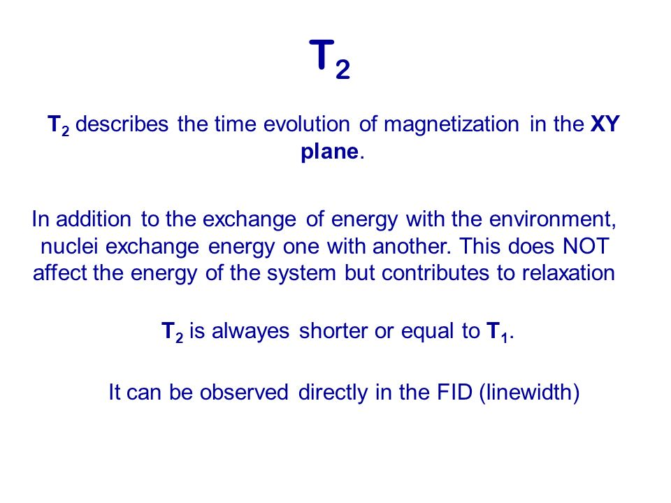 T2 T2 describes the time evolution of magnetization in the XY plane.