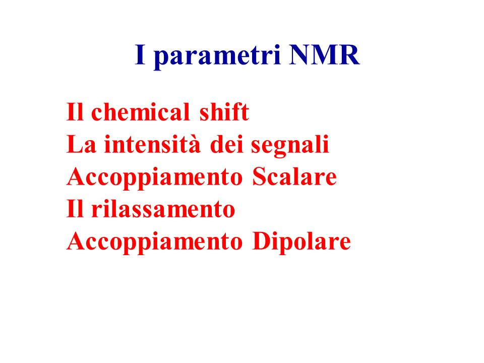 I parametri NMR Il chemical shift La intensità dei segnali