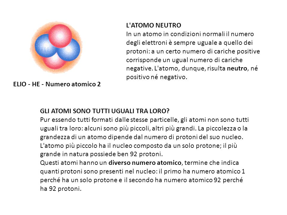 L ATOMO NEUTRO In un atomo in condizioni normali il numero degli elettroni è sempre uguale a quello dei protoni: a un certo numero di cariche positive corrisponde un ugual numero di cariche negative. L atomo, dunque, risulta neutro, né positivo né negativo.