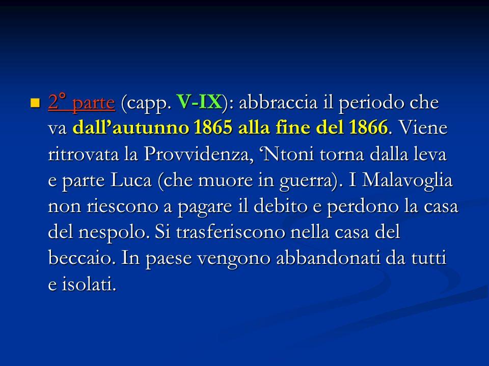 2° parte (capp. V-IX): abbraccia il periodo che va dall'autunno 1865 alla fine del 1866.