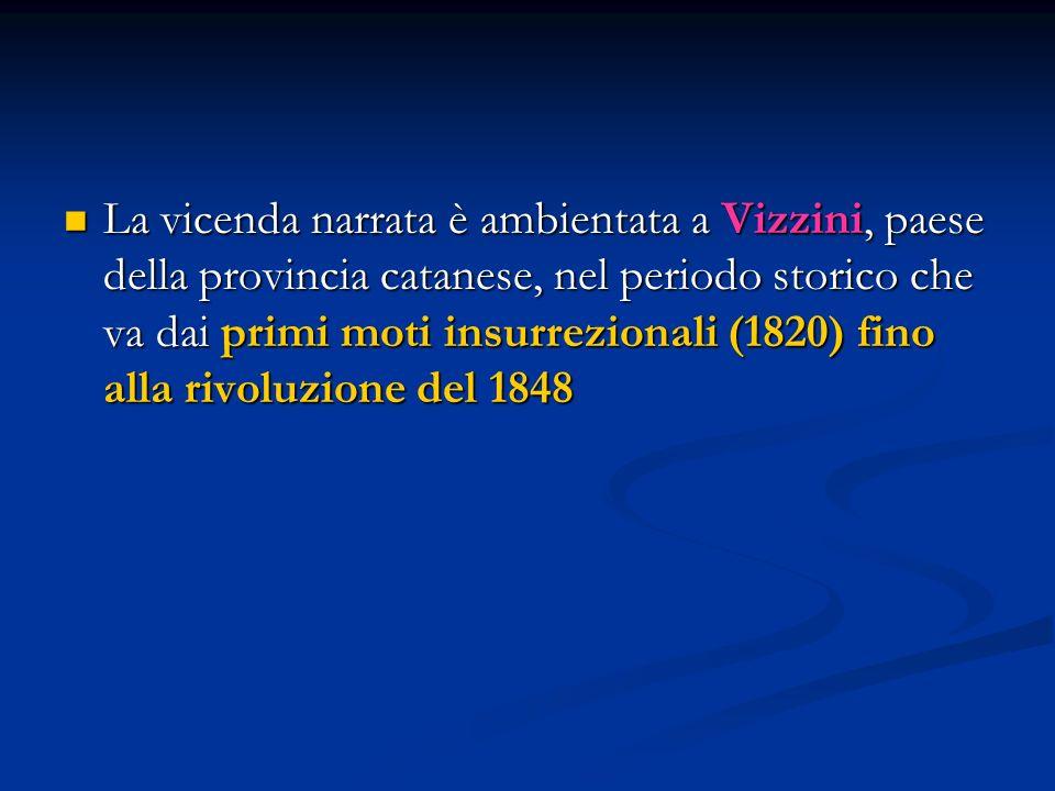 La vicenda narrata è ambientata a Vizzini, paese della provincia catanese, nel periodo storico che va dai primi moti insurrezionali (1820) fino alla rivoluzione del 1848