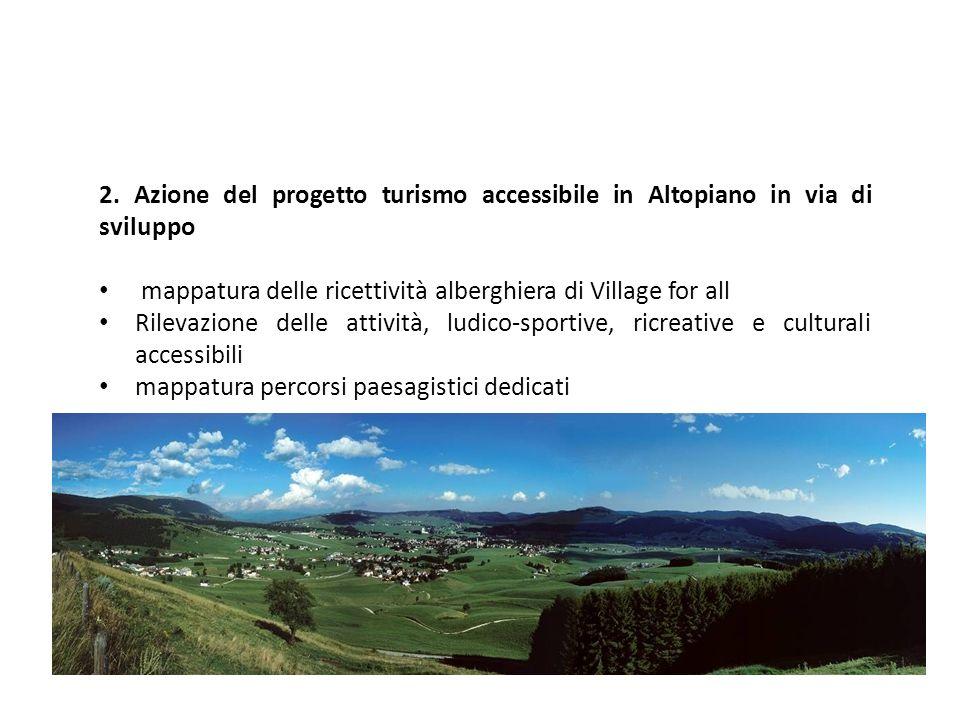2. Azione del progetto turismo accessibile in Altopiano in via di sviluppo
