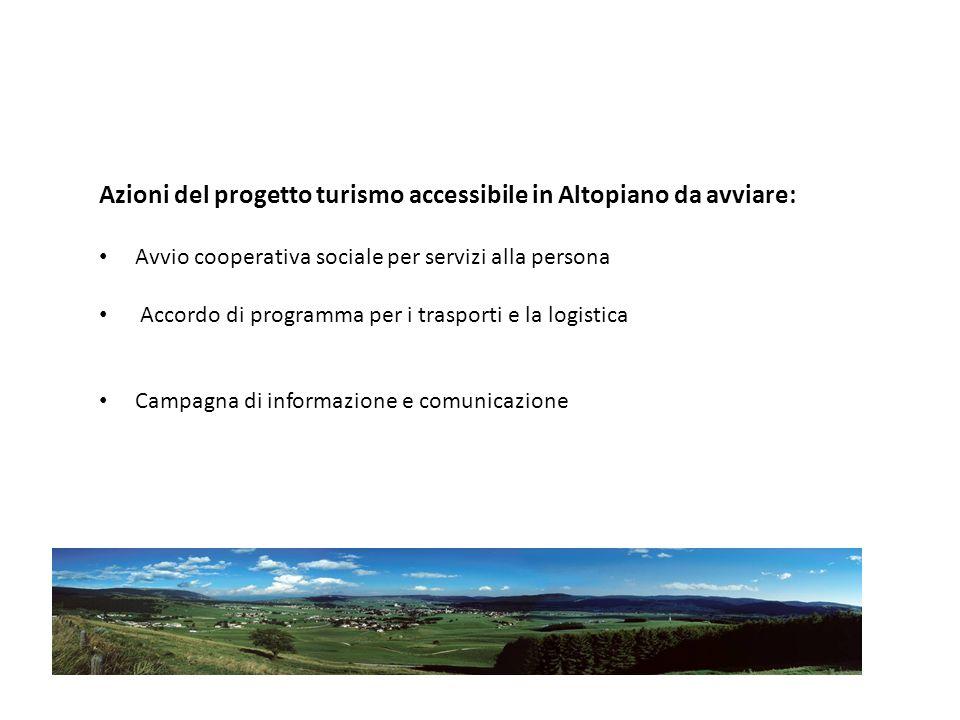 Azioni del progetto turismo accessibile in Altopiano da avviare: