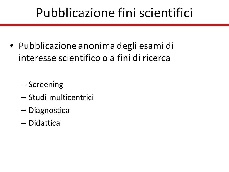 Pubblicazione fini scientifici