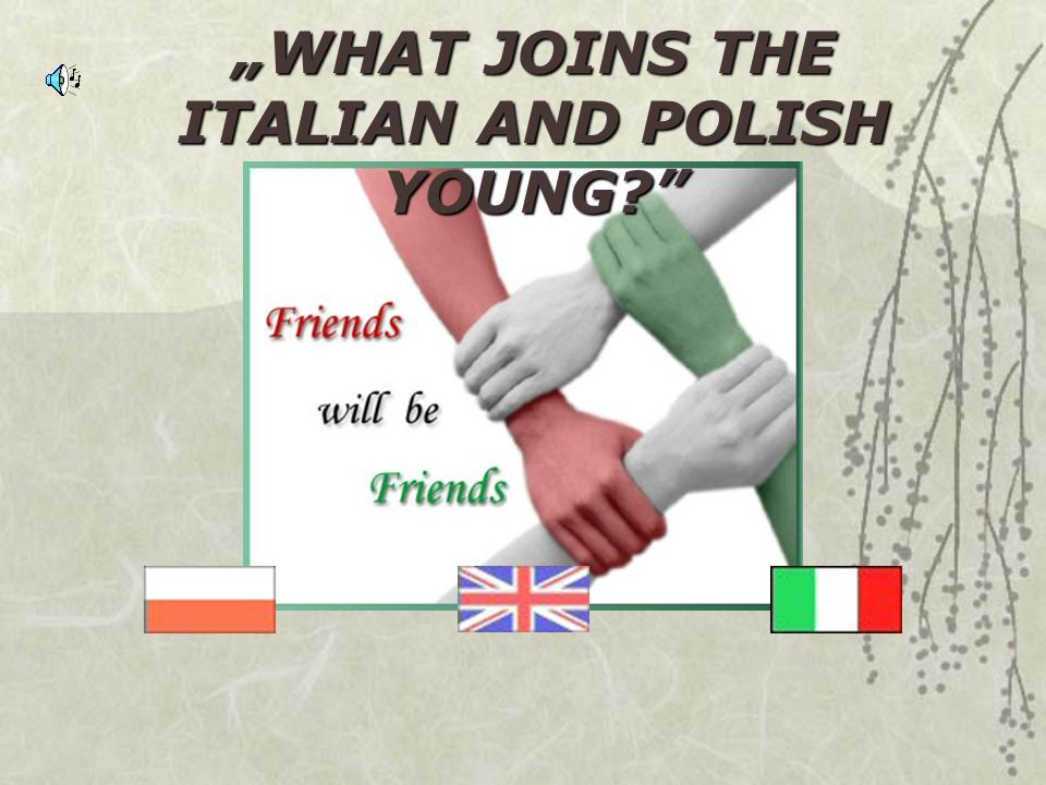 """WHAT JOINS THE ITALIAN AND POLISH YOUNG"